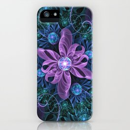Bejeweled Butterfly Lily of Ultra-Violet Turquoise iPhone Case