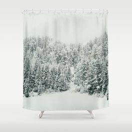 White Snowy Landcape Shower Curtain