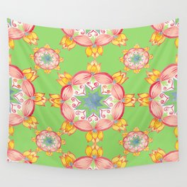 Yellow Lotus Green background Wall Tapestry