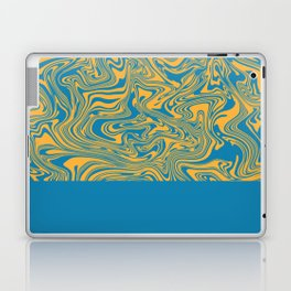 Liquid Swirl - Hawaiian Surf Blue and Citrus Yellow Laptop & iPad Skin