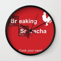 sriracha Wall Clocks featuring Breaking Sriracha by Don Paris Schlotman