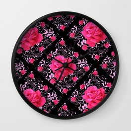 FUCHSIA PINK ROSE BLACK BROCADE GARDEN ART Wall Clock