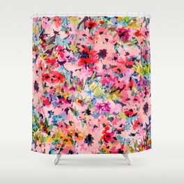Little Peachy Poppies Shower Curtain