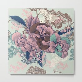 Beautiful pattern design with roses, English Victorian style Metal Print