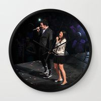 glee Wall Clocks featuring Glee Concert: Lea Michele and Chris Colfer by Jackie Lalumandier