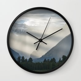 Bright contrast rays of morning sun over the Lake Matheson Wall Clock