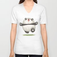 panda V-neck T-shirts featuring Panda by Toru Sanogawa