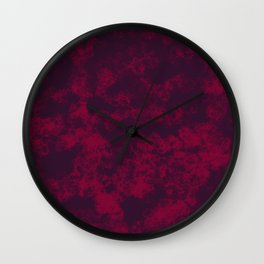 Burgundy Marble Flames, Abstract Art in Dark Purple and Bright Red Colors  Wall Clock