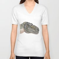 t rex V-neck T-shirts featuring T-Rex by Raffles Bizarre