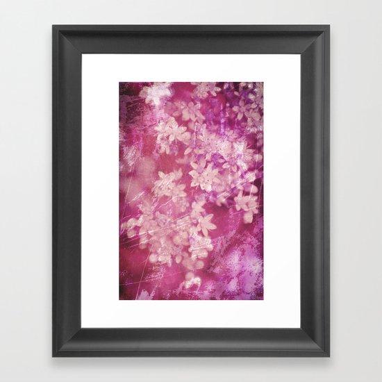 floral grunge pink Framed Art Print