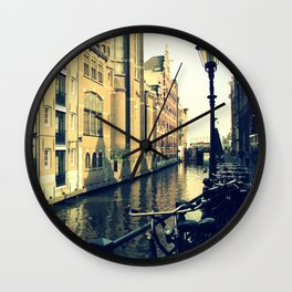 Bikes on the Canal Wall Clock
