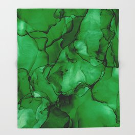 Deep Green Abstract: Original Alcohol Ink Painting Throw Blanket