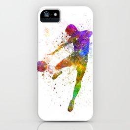 man soccer football player flying kicking iPhone Case