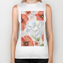 Red & White Flowers On White Wood Texture Biker Tank