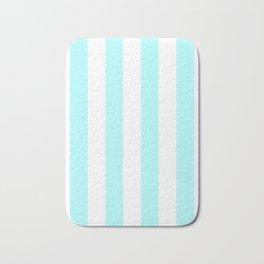 Vertical Stripes - White and Celeste Cyan Bath Mat
