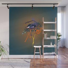 Grunge violet eye Wall Mural