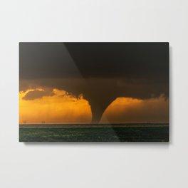 Silhouette - Large Tornado at Sunset in Kansas Metal Print