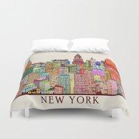 new york skyline Duvet Covers featuring new york city skyline by bri.buckley