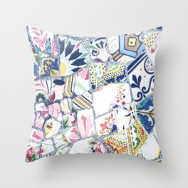 Gaudi Park Guell Mosaic Throw Pillow