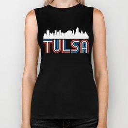 Red White Blue Tulsa Oklahoma Skyline Biker Tank