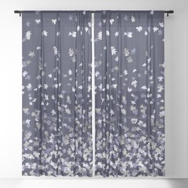 Floating Confetti - Navy Blue and Silver Sheer Curtain