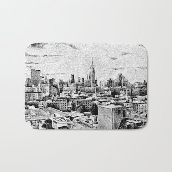 New York City - Fingerprint - Black ink Bath Mat