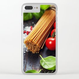 Spaghetti and tomatoes with herbs on an old and vintage wooden table Clear iPhone Case
