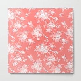 Vintage elegant coral white bohemian floral Metal Print