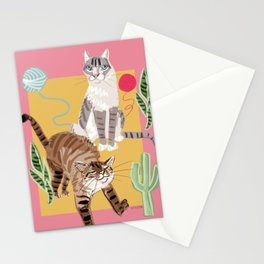 Whiskers and Yarn Pink Stationery Cards