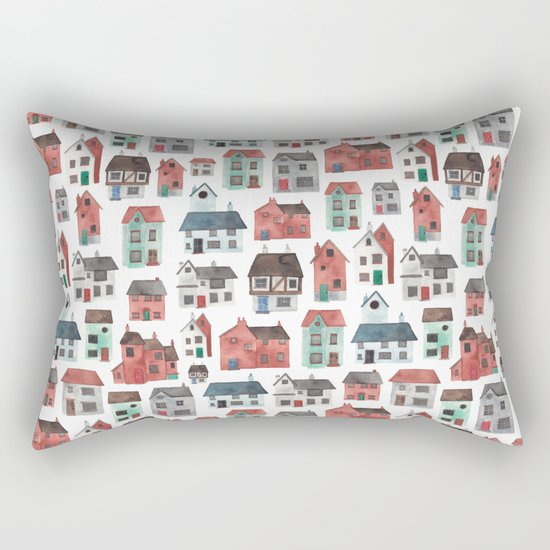 Watercolour Houses Rectangular Pillow
