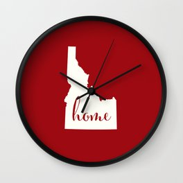 Idaho is Home - Red on White Wall Clock