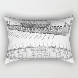 Vintage Viking Naval Ship History and Diagram Rectangular Pillow