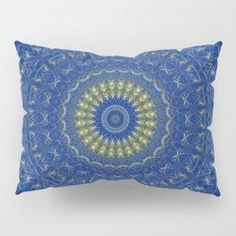 Mandala in dark blue tones with yellow flower Pillow Sham