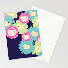 Happy Flower Faces Stationery Cards