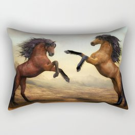 The Dueling Stallions Rectangular Pillow