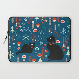 Black kitties in winter Laptop Sleeve