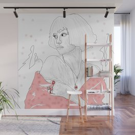 Cute Sketch girl with pink  art women line with ice   drawing beauty   girl Wall Mural