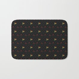 Chili Peppers & Flowers on Micro Polka Dots Bath Mat