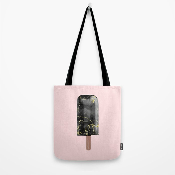 Black Marble with Gold Popsicle Tote Bag