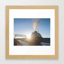 A Lift Bridge Sunflare Framed Art Print