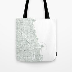 Map Chicago city watercolor map Tote Bag