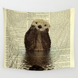 Otter in Love Wall Tapestry