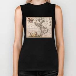 1658 Map of North America and South America with 2015 enhancements Biker Tank