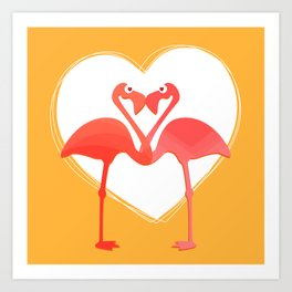 lovebirds - flamingos in love Art Print