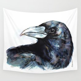 Raven, Watercolor Wall Tapestry