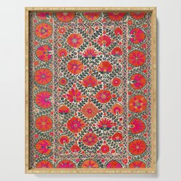 Kermina Suzani Uzbekistan Colorful Embroidery Print Serving Tray