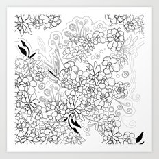 Succulents, black and white Art Print