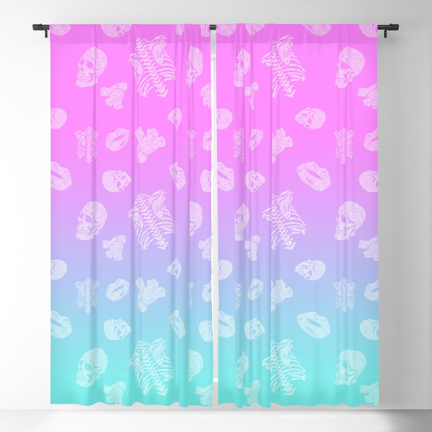 Body Language Pink Blue Light Seamless Pattern Anatomical Body Parts Blackout Curtain By Brandnamenerd Society6
