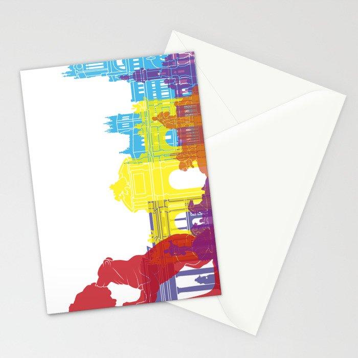 Madrid skyline pop Stationery Cards