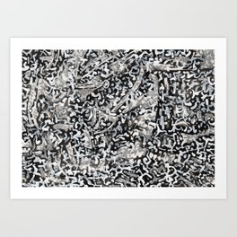 Black, white and silver abstract pattern. Art Print